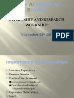 internship and research workshop