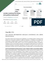 Resumen - Claus Offe (1996) _Los nuevos movimientos sociales cuestionan los límites de la política institucional_ _ Movimientos sociales _ Clase media