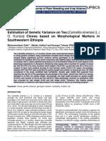 Estimation of Genetic Variance on Tea (Camellia sinensis (L.) O. Kuntze) Clones based on Morphological Markers in Southwestern Ethiopia