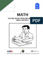 Math 6 DLP 52 - Solving word problems involving simple interest
