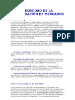 NECESIDAD DE LA INVESTIGACIÓN DE MERCADOS