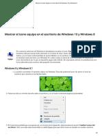 Mostrar el icono equipo en el escritorio de Windows 10 y Windows 8