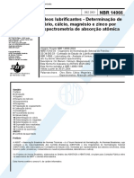 NBR 14066 - Oleos lubrificantes - Determinacao de bario calcio magnesio e zinco por espectrometri