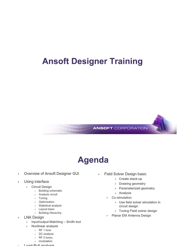 Ansoft Designer Training Vertex Geometry Mathematical Optimization Simulation Software Suits Rf Circuit Design Applications
