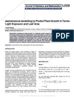 Mathematical Modelling to Predict Plant Growth in Terms Light Exposure and Leaf Area