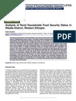 Analysis of Rural Households Food Security Status in Dibatie District, Western Ethiopia