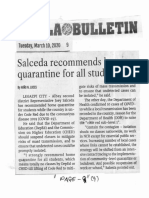 Manila Bulletin, Mar. 10, 2020, Salceda recommends home quarantine for all students.pdf