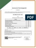 Certificado Homologacion SGS - 2018