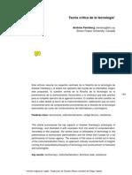 Andrew Feenberg. Teoría crítica de la tecnología
