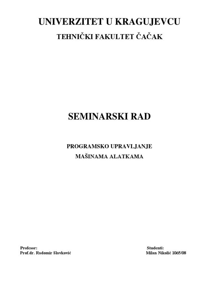 Seminarski Rad Programsko Upravljanje Masinama