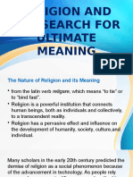 RELIGION AND THE SEARCH FOR ULTIMATE MEANING