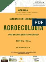 Agroecologia Reporte Social GEPAMA UNGS NOV 2019