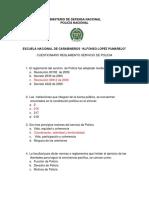 PREGUNTAS REGLAMENTO SERVICIO DE POLICIA