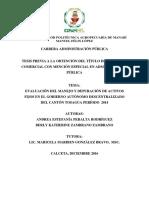 3.-EVALUACIÓN DEL MANEJO Y DEPURACIÓN DE ACTIVOS FIJOS (PERALTA AMDREA-ZAMBRANO BERLY AÑO 2016)