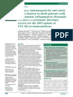 Efficacy, immunogenicity and safety - eular update 2019
