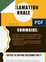 Réclamation Orale