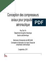 Conception des compresseurs axiaux pour propulsion axiaux pour propulsion aéronautique