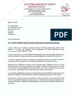 Letter to Commissioner of Police