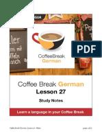 Coffee Break German. Lesson 27. Study Notes