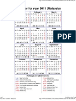 Year 2011 Calendar – Malaysia