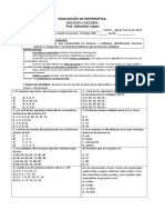 Evaluación de matemática múltiplos y factores