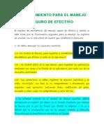 PROCEDIMIENTO PARA EL MANEJO SEGURO DE EFECTIVO