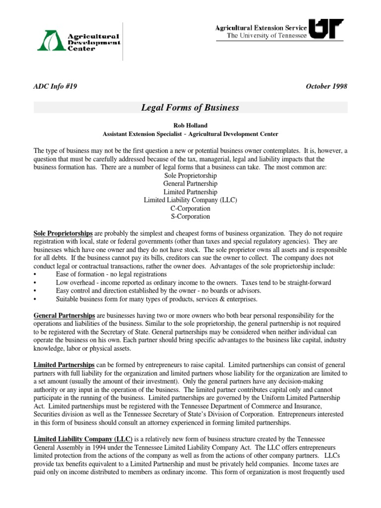 Legal Form Of Business Limited Liability Company S Corporation - Tennessee legal forms
