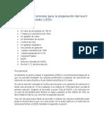 Descripción del proceso para la preparación del laurisulfato de sodio