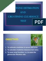 Creatinine Estimation and Creatinine Clearance Test