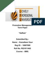 Promotion Management Term Paper Kamal