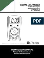 0 - Manual - Multímetro Minipa (ET-2033A)