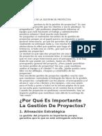 IMPORTANCIA DE LA GESTION DE PROYECTOS