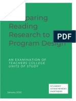 comparing reading research to program design an examination of teachers college units of study final