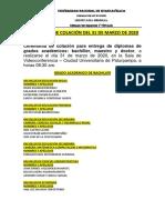 CEREMONIA DE COLACIÓN DE 31 DE MARZO DE 2020