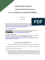 L'action à distance dans la correspondance d'Isaac Newton avec Richard Bentley et les questions d'Opticks