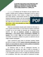AS RELAÇÕES ENTRE RESOURCE DESCRIPTION AND ACCESS