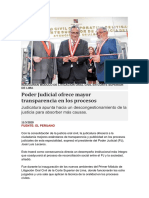 Poder Judicial ofrece mayor transparencia en los procesos