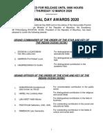 National Day Awards 2020