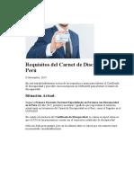 Requisitos Del Carnet de Discapacidad Perú