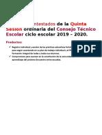 Productos contestados de la Quinta Sesión ordinaria del Consejo Técnico Escolar ciclo escolar 2019