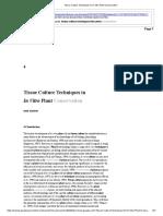 Tissue Culture Techniques in In Vitro Plant Conservation