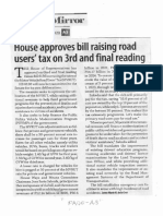Business Mirror, Mar. 12, 2020, House approves bill raising road users tax on 3rd and final reading.pdf