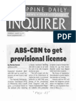 Philippine Daily Inquirer, Mar. 12. 2020, ABS_CBN to get provisional license.pdf