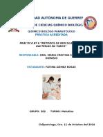 PRÁCTICA Nº 6 ``MÉTODOS DE INOCULACIÓN DE BACTERIAS EN TUBOS''