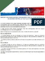 Communiqué de la Ligue National de Basket concernant le report de la 27e journée de Jeep Elite