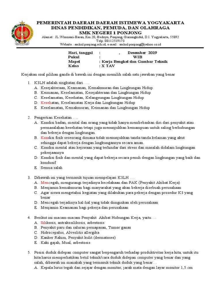 Soal Kerja Bengkel Gambar Teknik Kelas X Tav