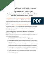 Imposto de Renda 2020 Preenchimento