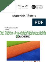 Tecidos e outros materiais têxteis