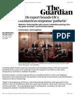 Health expert brands UK's coronavirus response 'pathetic' | World news | The Guardian