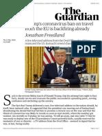 Trump's coronavirus ban on travel from the EU is backfiring already | Jonathan Freedland | Opinion | The Guardian